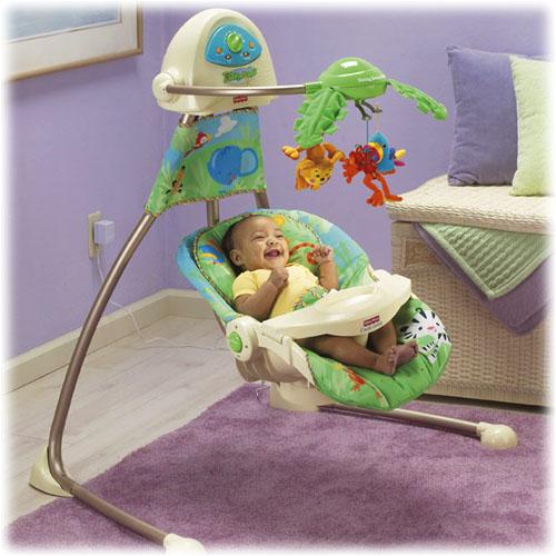 Fisher Price Rainforest Open Top Cradle Swing