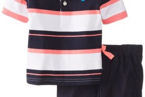Nautica Baby-Boys Infant Striped Polo with Short 2 Piece Set