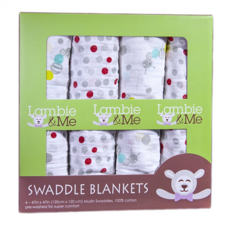 4 Pack Baby Swaddle Blankets & BONUS ebook – Muslin Cotton Receiving Blankets for Boys or Girls.