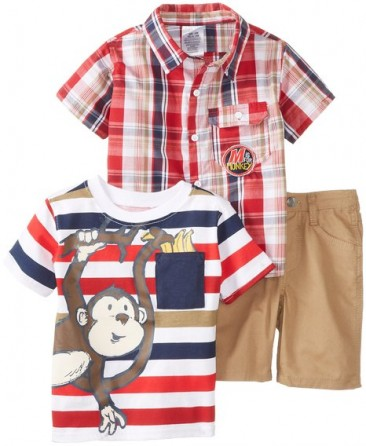 Little Rebels Baby-Boys Infant 3 Piece Monkey Short Set