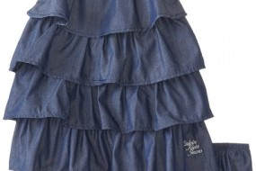 Calvin Klein Baby-Girls Infant Chambray Ruffled Dress