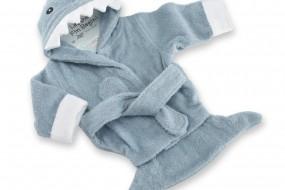 Baby Aspen Let The Fin Begin Terry Shark Robe, Blue, 0-9 Months