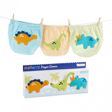 Baby Aspen 3-Piece Diaper Cover Gift Set, DinoMite, 6-12 Months