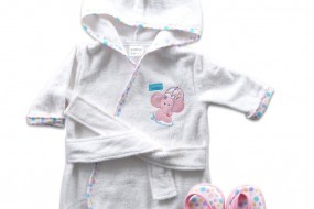 Luvable Friends Woven Terry Baby Bath Robe with Slippers