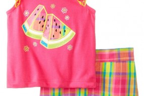 Kids Headquarters Baby-Girls Infant Top with Plaided Shorts Watermelon