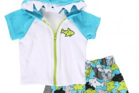 Wippette Boy and Baby UV Protection Swim and Cover Up Set – Sizes 0-6 Months to 4