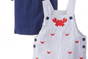 Little Me Baby-Boys Newborn Crab Shortall Set