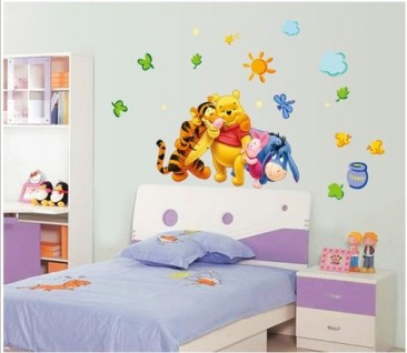Winnie The Pooh And Friends Party,Removable,Peel & Stick Wall Sticker, Wall Decals Decoration