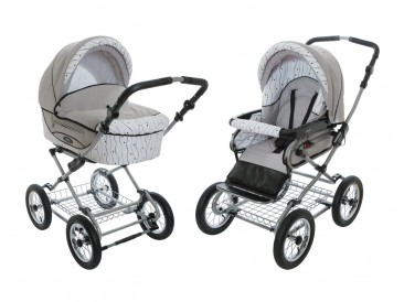 Roan Kortina Classic Pram Stroller 2-in-1 with Bassinet and Seat – Grey-white with Stripes and Dots