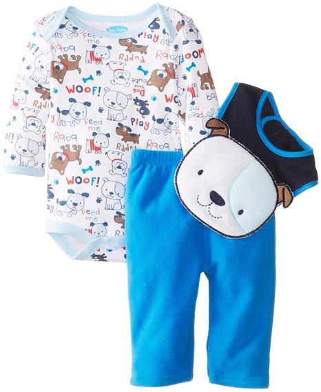 Over 60% discount of BON BEBE Baby-Boys Newborn Puppy Bodysuit Bib and Micro Fleece Pant Set