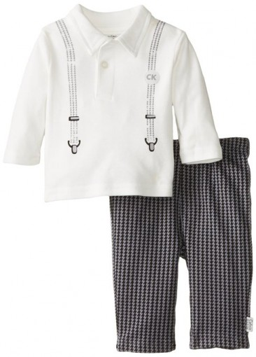 cK set for baby boys – blouse whit long sleeves & printed suspenders and cargo pants