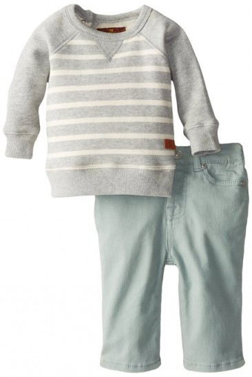 * Seven for All Mankind * Baby-Boys Newborn Standard with Striped Sweatshirt