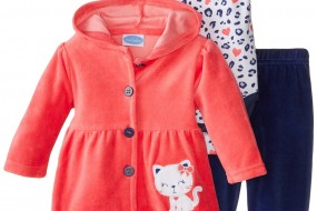 BON BEBE Baby-Girls Newborn Sweet Hooded Jacket and Pant Set, Kitty***
