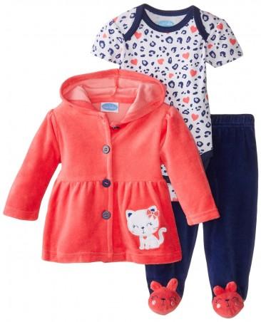 BON BEBE Baby-Girls Newborn Sweet Hooded Jacket and Pant Set, Kitty***