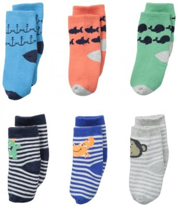 Carter's cute and funny 6 pack infant socks