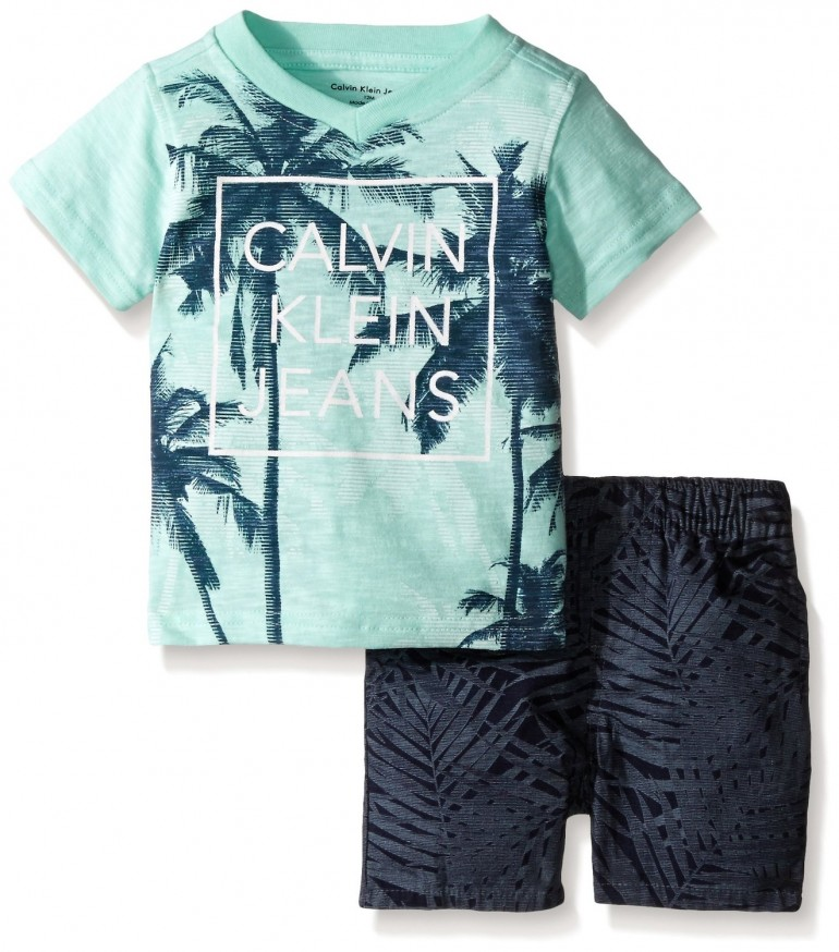 Baby Boys Calvin Klein set – Jersey Tee and Rip – Stop Shorts / Size: 24 months