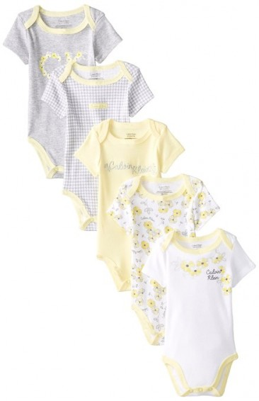 Calvin Klein Baby-Girls Newborn 5 Pack Bodysuit Yellow Grey White Group