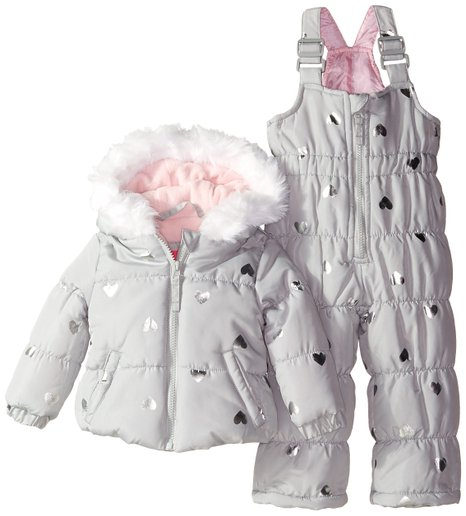 Silver Snowsuit for little ladies with printed hearts