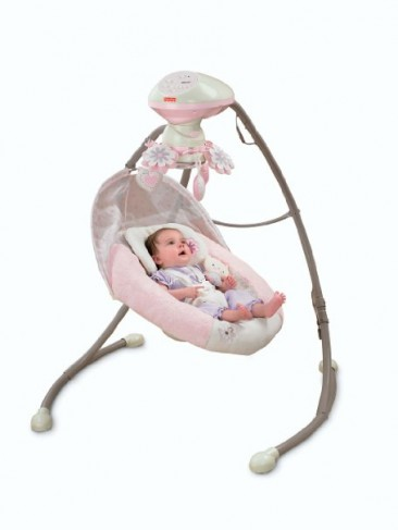 * Fisher Price * Little Pink Flower Cradle & Swing