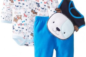 Over 60% discount of BON BEBE Baby-Boys Newborn Puppy Bodysuit Bib and Micro Fleece Pant Set