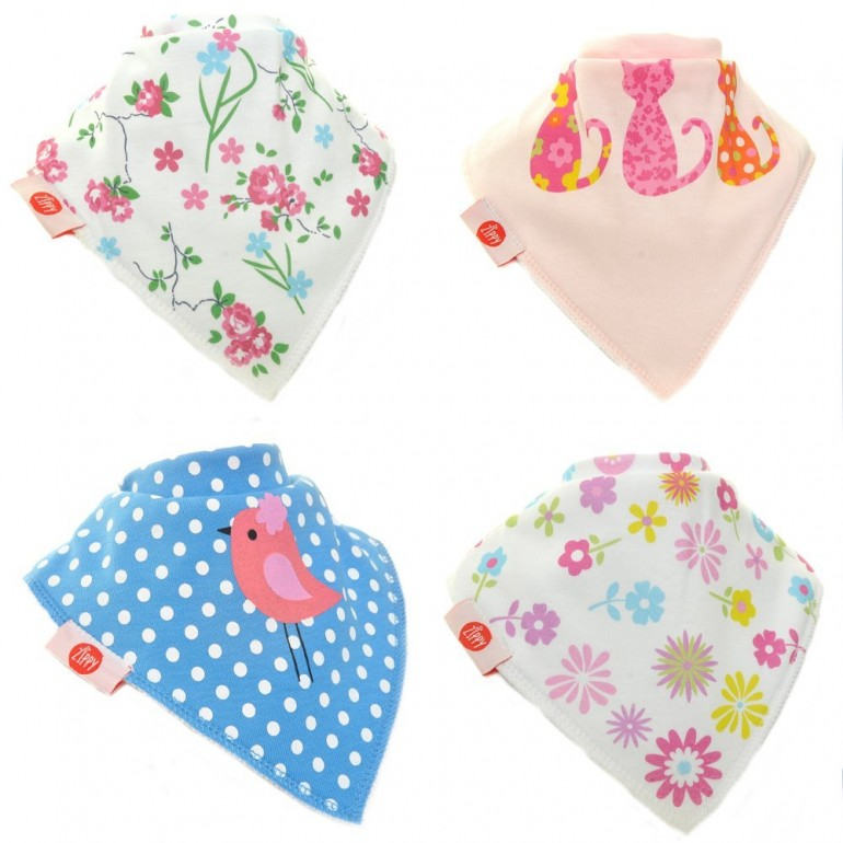 Great design and cute baby girls bibs – Zppy pack of 4