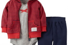 CARTER'S 3 pieces set for little guys with eared hoody