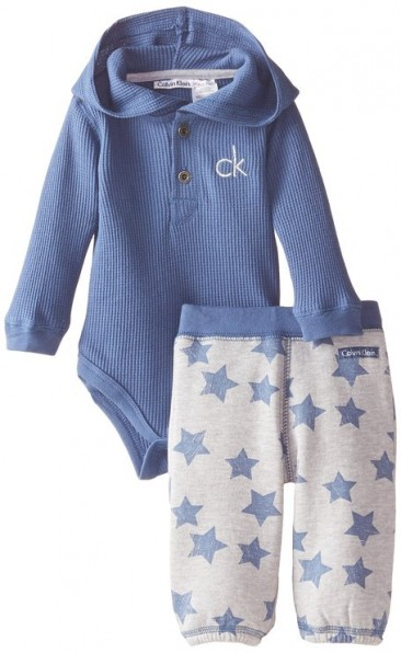 cK Baby Boys Newborn Blue Bodysuit with Pants