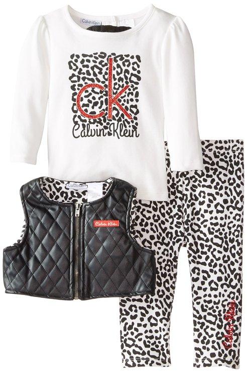 Calvin Klein Baby Girl set – Let's Rock ( Vest, Top & Animal Printed Pants )