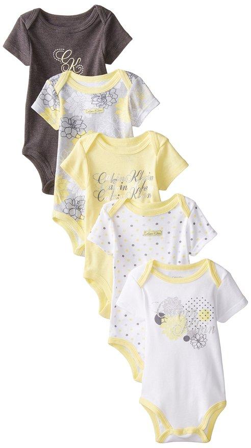 Calvin Klein Baby-Girls Newborn 5 Pack Bodysuit Yellow Grey White Group