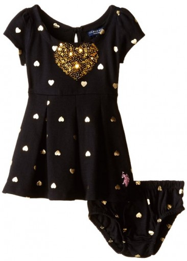 Baby Girls metallic heart print french terry dress * U.S. Polo *