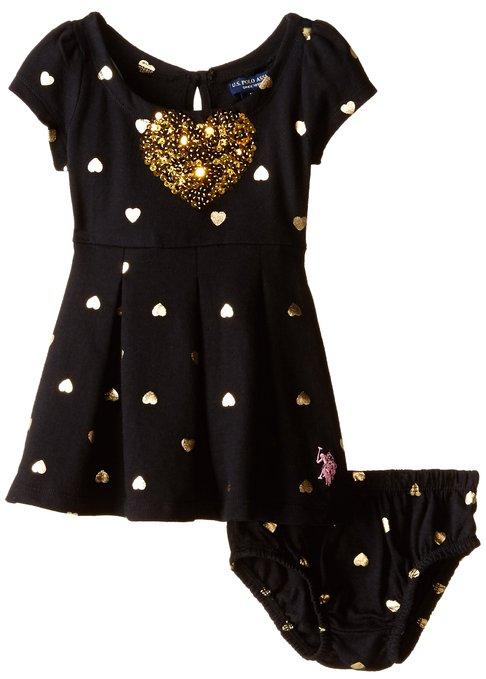 Baby Girls metallic heart print french terry dress * U.S. Polo *