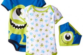 Disney Baby Boys Monster Inc. * Mike * 2 Bodysuit pack with bib