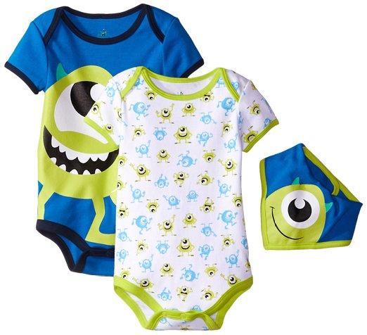 Disney Baby Boys Monster Inc. * Mike * 2 Bodysuit pack with bib