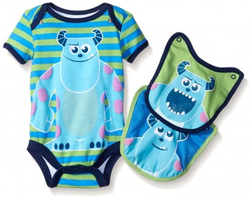 Monster Inc. – Mickey Bodysuits for Baby Boys with 2 pack Bibs set gift from Disney