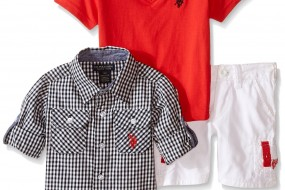 Three Pcs Set U.S. Polo – V-neck T-shirt / Shirt / Cargo Shorts – Sizes:12, 18, 24 months